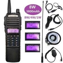 Baofeng UV 82 8w portátil rádio transceptor amador uhf vhf dupla banda uv82 presunto estações de rádio 3800mah walkie talkies para a caça