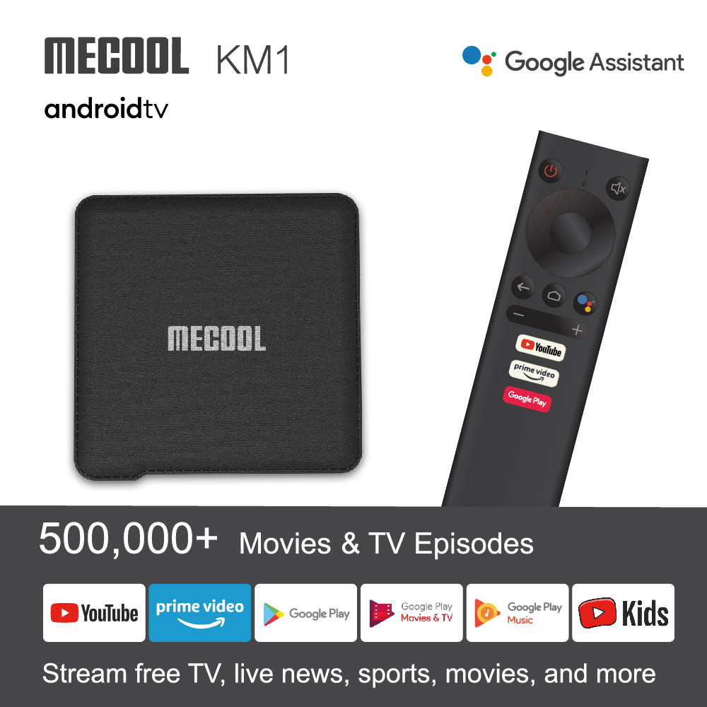 Mecool KM1 ATV Andriod 9.0 TV Box 4G 64G Amlogic S905X3 Dual Wifi Google Certified 4K Media Player Youtube Smart Set Top Box