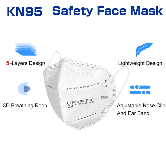 50 Pieces KN95 Mascarillas CE FFP2 Facial Face Mask 5 Layers Filter Protective Health Care Breathable 95% Mouth Masks For Face 4