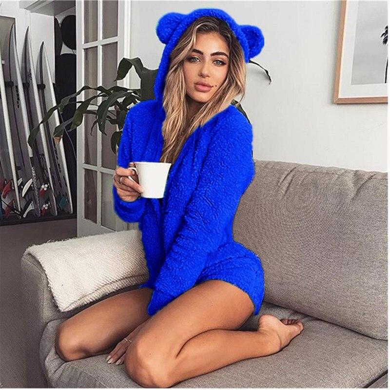 5XL Women Jumpsuits Fleece Pajama Bear Ear Hooded Bodysuit Shorts Winter Warm Tracksuit Streetwear One-piece Sleepwear Plus Size 2