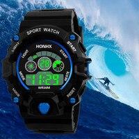 Reloj de pulsera Digital LED para hombre y niño, cronógrafo de goma para deporte con fecha y calendario, electrónico, luminoso, resistente al agua, de lujo