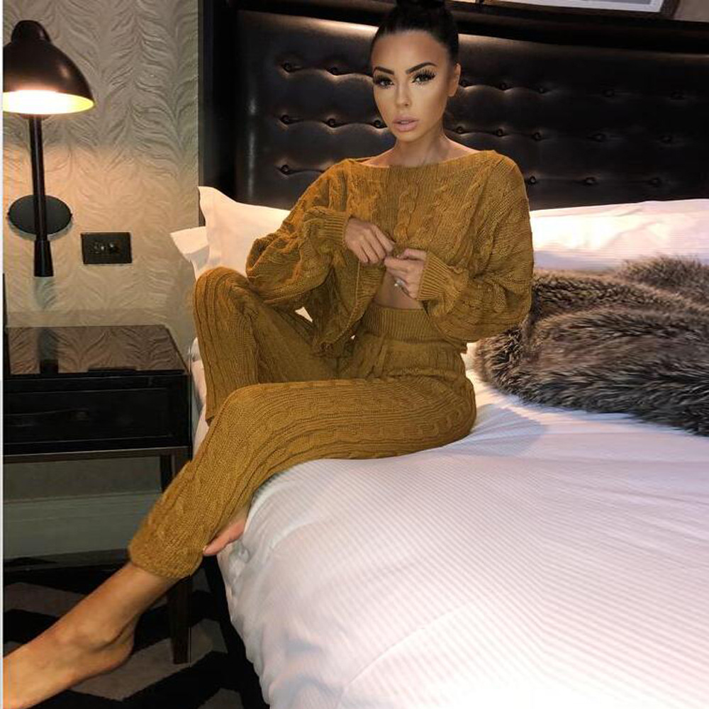 2019 Europe And America Women's Sexy Pullover Knitting Shirt Sweater Elegant Solid Color Trousers Two-Piece Set Ft18716