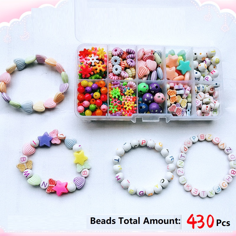 430 pcs Mix Color Kids Beads with Box for Children DIY Bracelet Jewelry Acrylic Beads Set Accessories Girl Toys Making