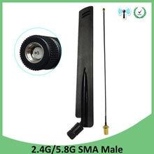 2.4GHz 5GHz 5.8Ghz wifi anten 2.4 ghz 8dBi SMA erkek konnektör wi-fi 2.4G 5G 5.8G anten + 21cm RP-SMA erkek Pigtail kablo