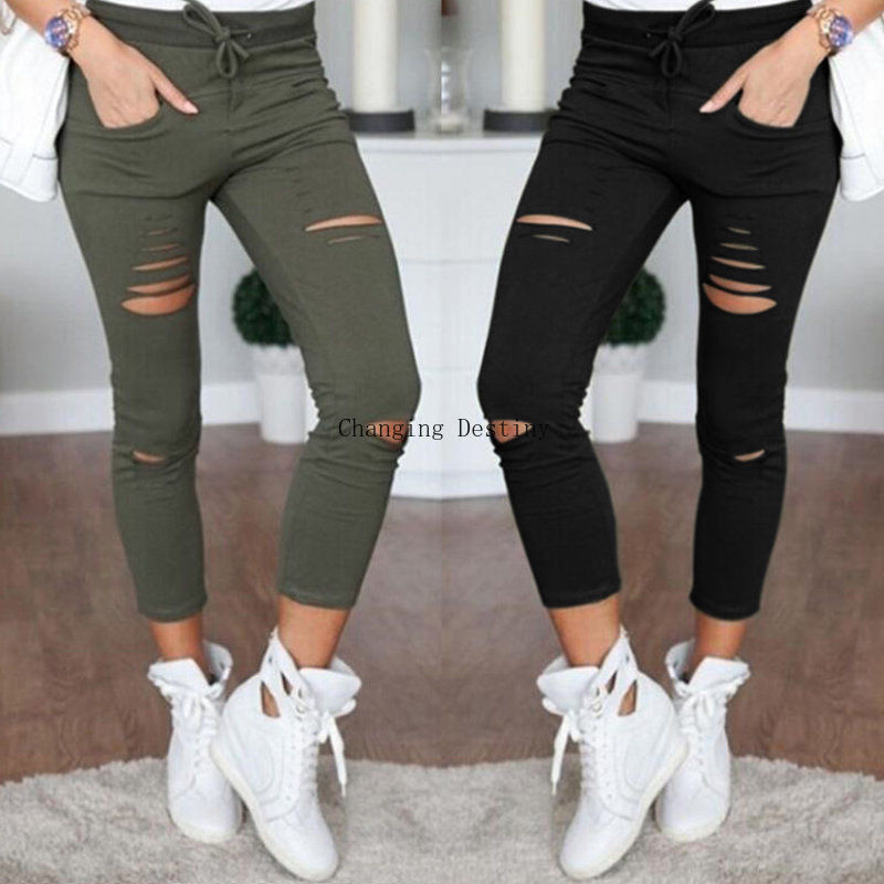 S-4XL Women New Cotton Pencil Pants Wild Leisure Trousers Women's Clothing Hole In Europe and America Popular   Jeans
