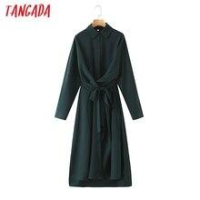 Tangada 2020 autumn women solid dark green shirt dress long