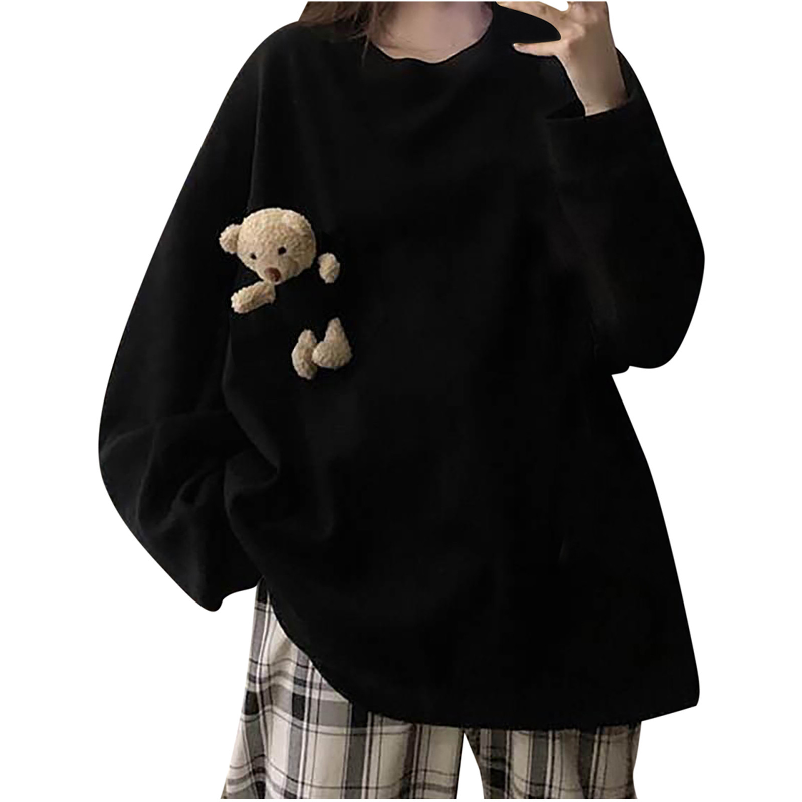 40# Women's Bear pocket Hoodies cute Spring Autumn Loose Wild Pullover Solid Bear Sweatshirt Hoodies Preppy Kawaii Sweatshirts