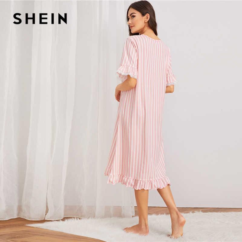 SHEIN Pembe Çizgili Kontrast Dantel Trim gece elbisesi Kadın Kıyafeti 2019 Sonbahar Kısa Kollu Casual Bayanlar Fırfır Etek Pijama