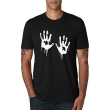 Zombie Bloody Hands Print Men T Shirt Casual Funny Tshirts for Man Tee Hipster O-neck Slim 100% Cotton T-shirt 31 Colors