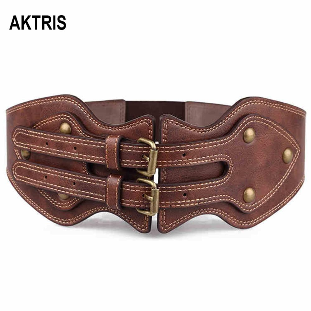 AKTRIS Fashion High Quality PU Leather Elastic Female Overcoat Wide Waist Seal Patent Down Jackets Belt For Women 2019 FCO118
