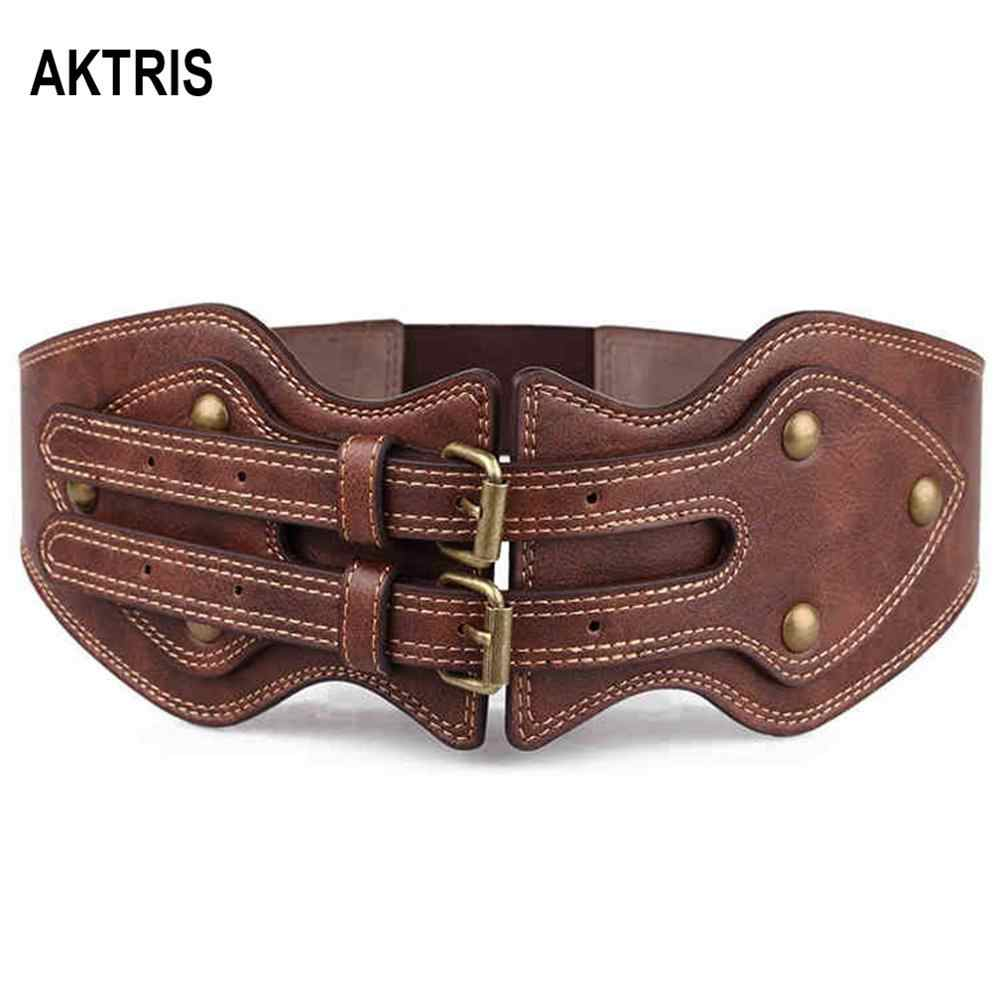 AKTRIS الموضة عالية الجودة بو الجلود مرونة معطف الإناث واسعة الخصر ختم براءات أسفل جاكيتات حزام للنساء 2019 FCO118