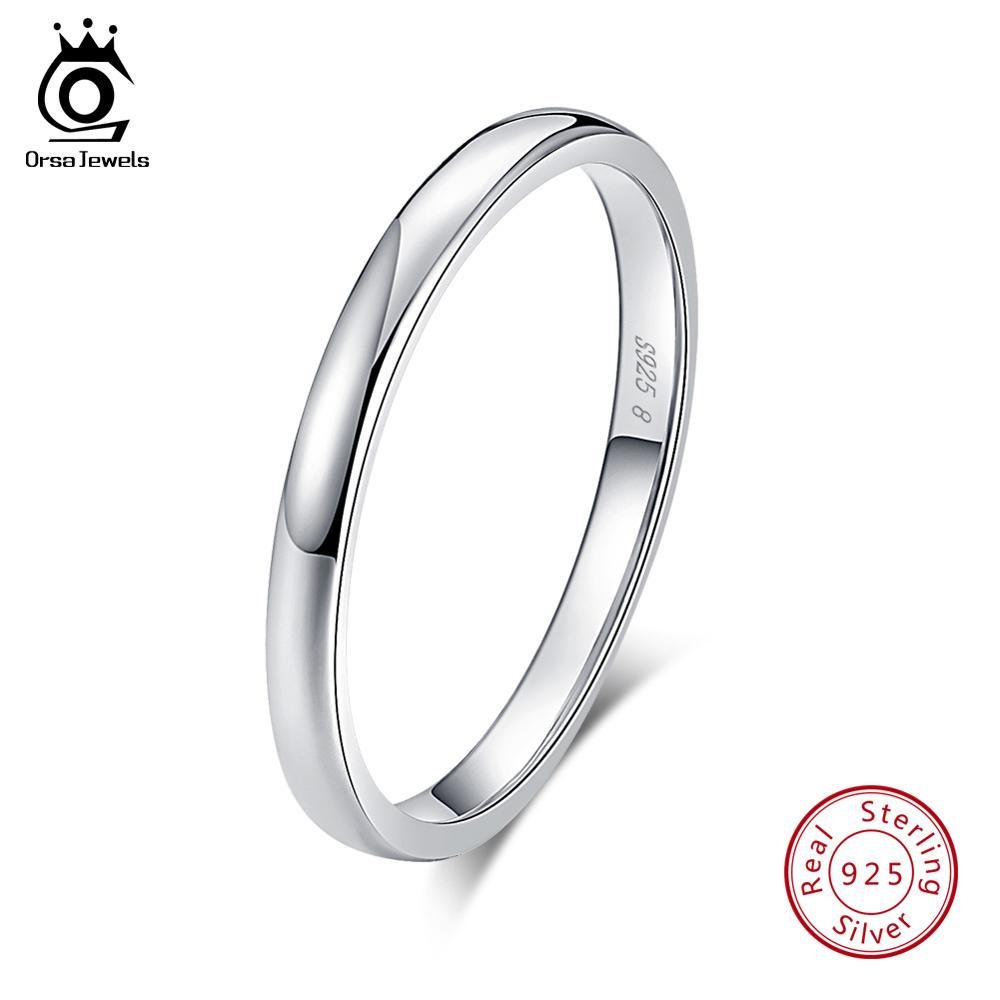 ORSA JEWELS Genuine 925 Sterling Silver Rings For Men Women Couple Rings Wedding Band Finger Ring Female Jewelry Wholesale OSR74