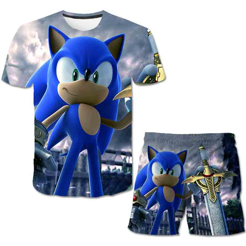 Summer Sonic the Hedgehog T-Shirt 3D Baby Boy Clothing Set Cute Cartoon Children Boys Clothes tops Shorts Suit for Kids Outfit 2