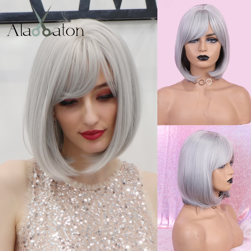 ALAN EATON Wigs Short Bobo Cosplay Wigs with Bangs Straight Silver Grey Synthetic Hair Perucas for Women Heat Resistance Fiber
