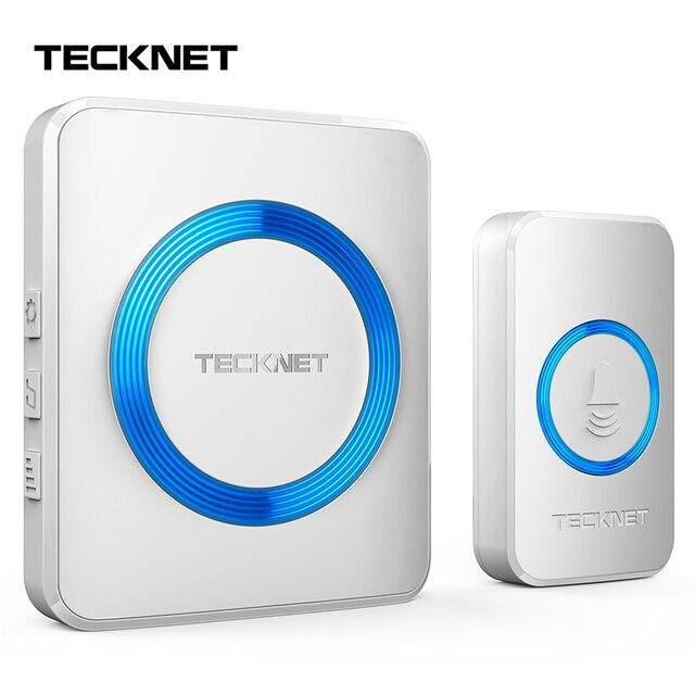 TeckNet 52 carillon sans fil porte cloche étanche 300M à distance sonnette ue UK Plug Smart porte cloche avec batterie maison sonnette