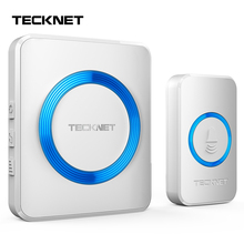 TeckNet Wireless Doorbell Wall Plug-in Cordless Door Chime 300m Range 52 Chimes 4-Level Volume Blue Light UK/EU Plug Entry Bell