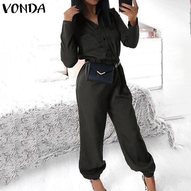 VONDA Sexy Rompers Womens Jumpsuits 2020 Autumn Casual Pants Vintage Long Sleeve Party Overalls Deep V Neck Playsuits Plus Size