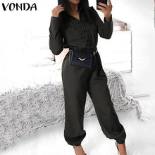 VONDA Sexy Rompers Womens Jumpsuits 2020 Autumn Casual Pants Vintage Long Sleeve