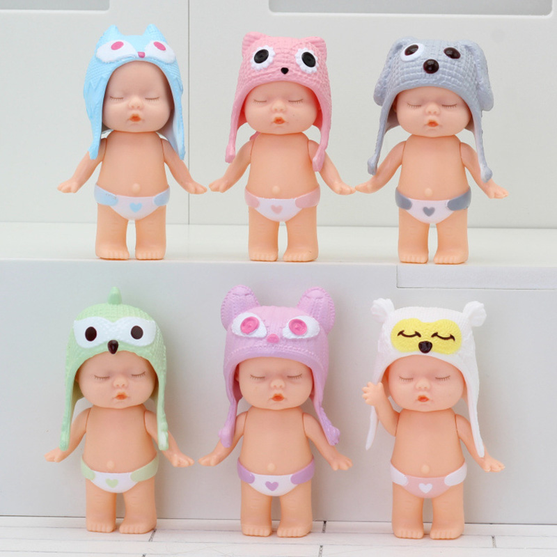 New 6pcs/set 8 Cm Plastic Doll Simulation Baby Sleep Cute Doll Doll Male Sleeping Baby Toy For Boys Girls