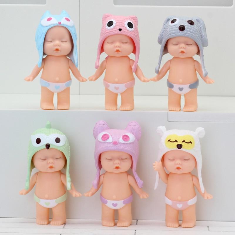 New 6pcs/set 8 Cm Plastic Doll Simulation Baby Sleep Cute Doll Doll Male Sleeping Baby Toy For Boys Girls