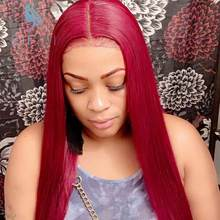 Deep Part 13*6 Ombre Red Brazilian Straight Lace Front Human Hair Wigs Preplucked Natural HairLine Remy Hair Lace Wigs For Women