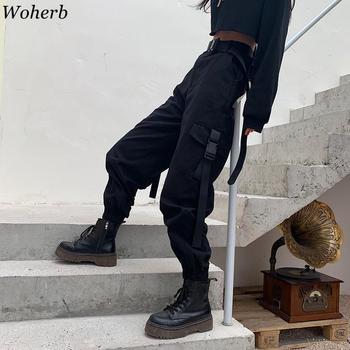 Woherb koreański nowy wysokiej talii spodnie Cargo Solid Color kieszenie spodnie do kostek kobiety dorywczo luźna moda Streetwear 91379 tanie i dobre opinie Kostki długości spodnie COTTON Poliester Lycra spandex Elastyczny pas Mieszkanie Wysoka Stałe Na co dzień Suknem Cargo pants