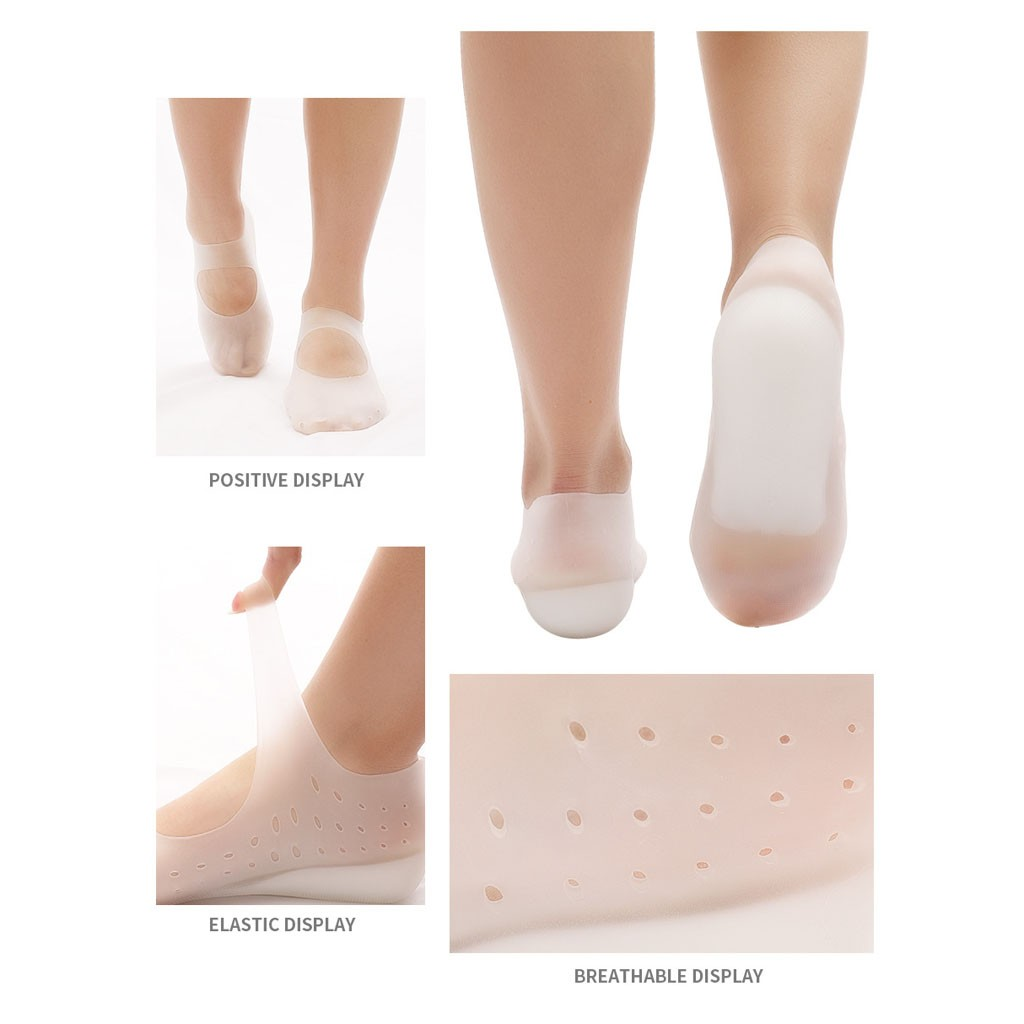 Invisible Silicone Height Lift Heel Pad Sock Liners Increase height Insole Neu