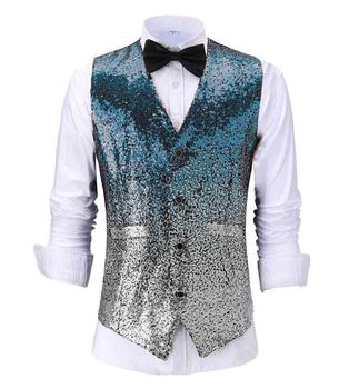 New Fashion Mens Vest Changing Color Shiny Sequin Suit Slim Fit Waistcoat For Party,Wedding,Nightclub Custom Size