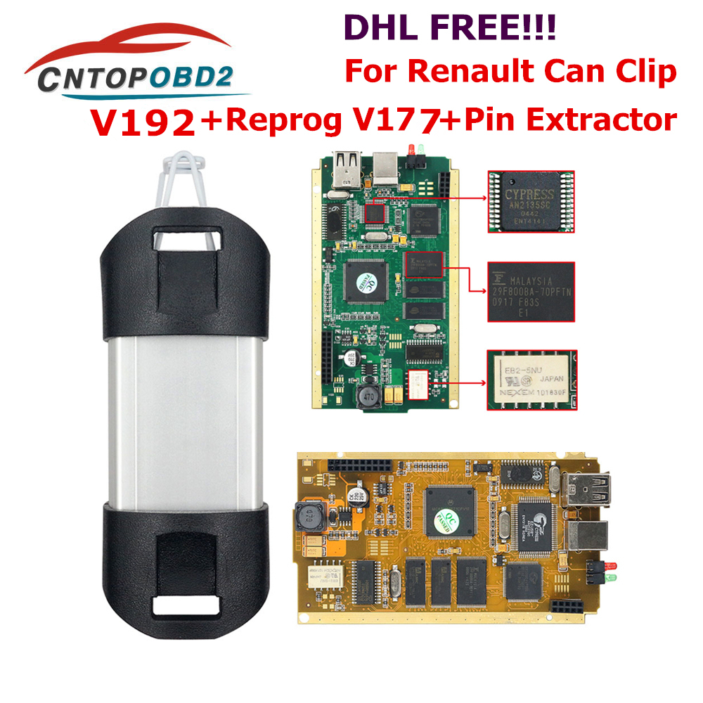 For Renault Can Clip V190 Full Chip With CYPRESS AN2135SC/2136SC Chip Gold PCB Board V178 Can Clip Car Diagnostic Tool