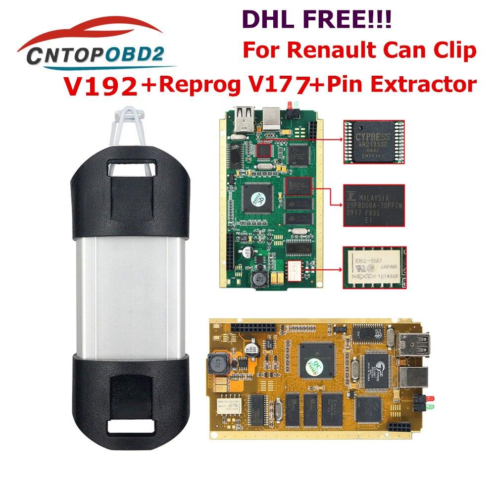 Para Renault Can Clip V190 Chip completo con CYPRESS AN2135SC/2136SC Chip oro PCB Board V178 Can Clip herramienta de diagnóstico del coche