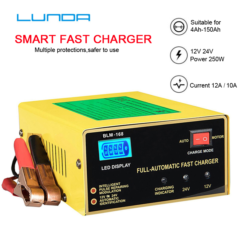 English LCD Car <font><b>Battery</b></font> <font><b>Charger</b></font> <font><b>12V</b></font> 24V Pulse Repair <font><b>Battery</b></font> <font><b>Charger</b></font> For Car Motorcycle Lead Acid <font><b>Battery</b></font> Agm Gel Wet image