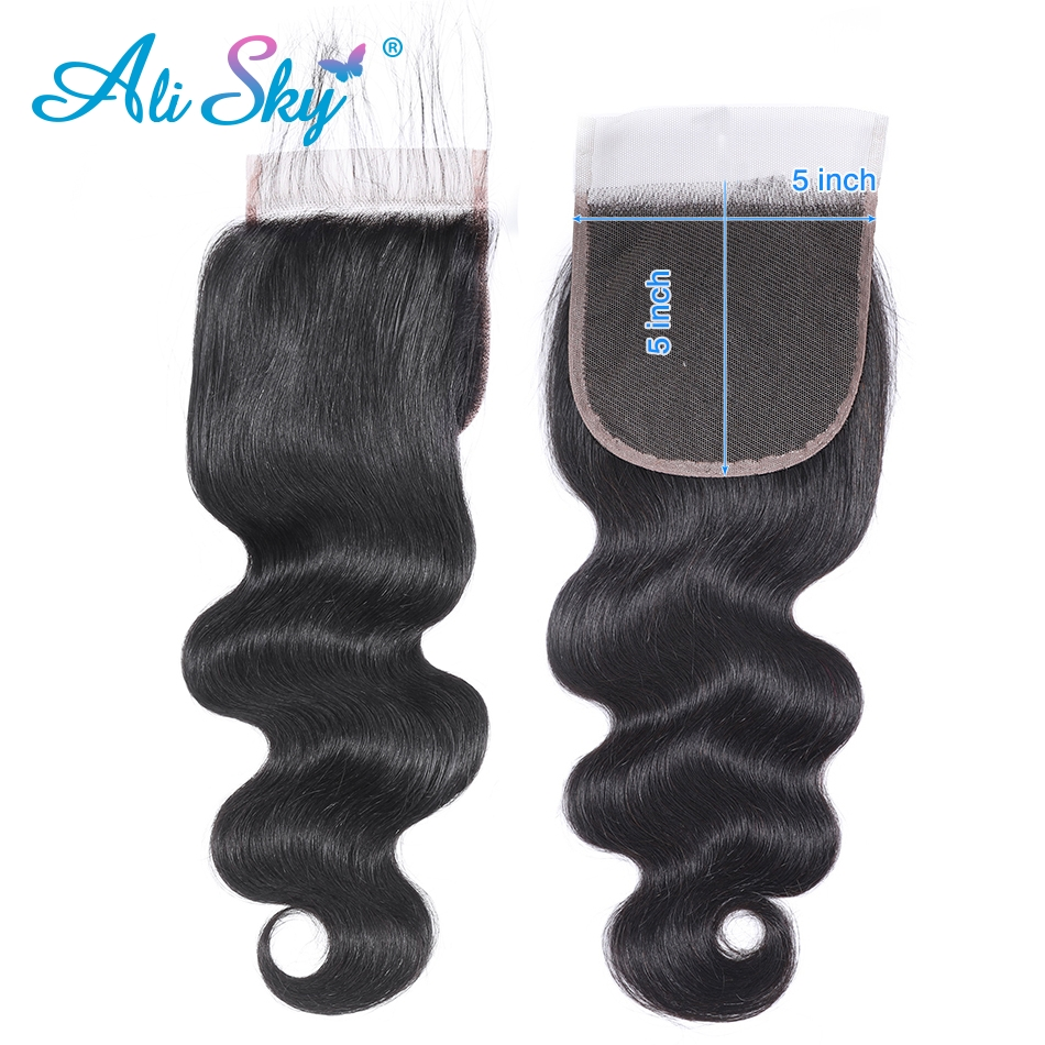 Alisky Hair 5x5 Body Wave 100% Top Lace Closure Remy Human Hair Swiss Lace Natural Color Brazilian Hair Closure Bleached Knots