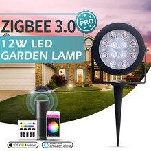 Gledopto inteligente zigbee 3.0 12w rgbcct jardim lâmpada paisagem caminho luz ao ar livre pode ser escurecido trabalho com amazon echo mais smartthings rf
