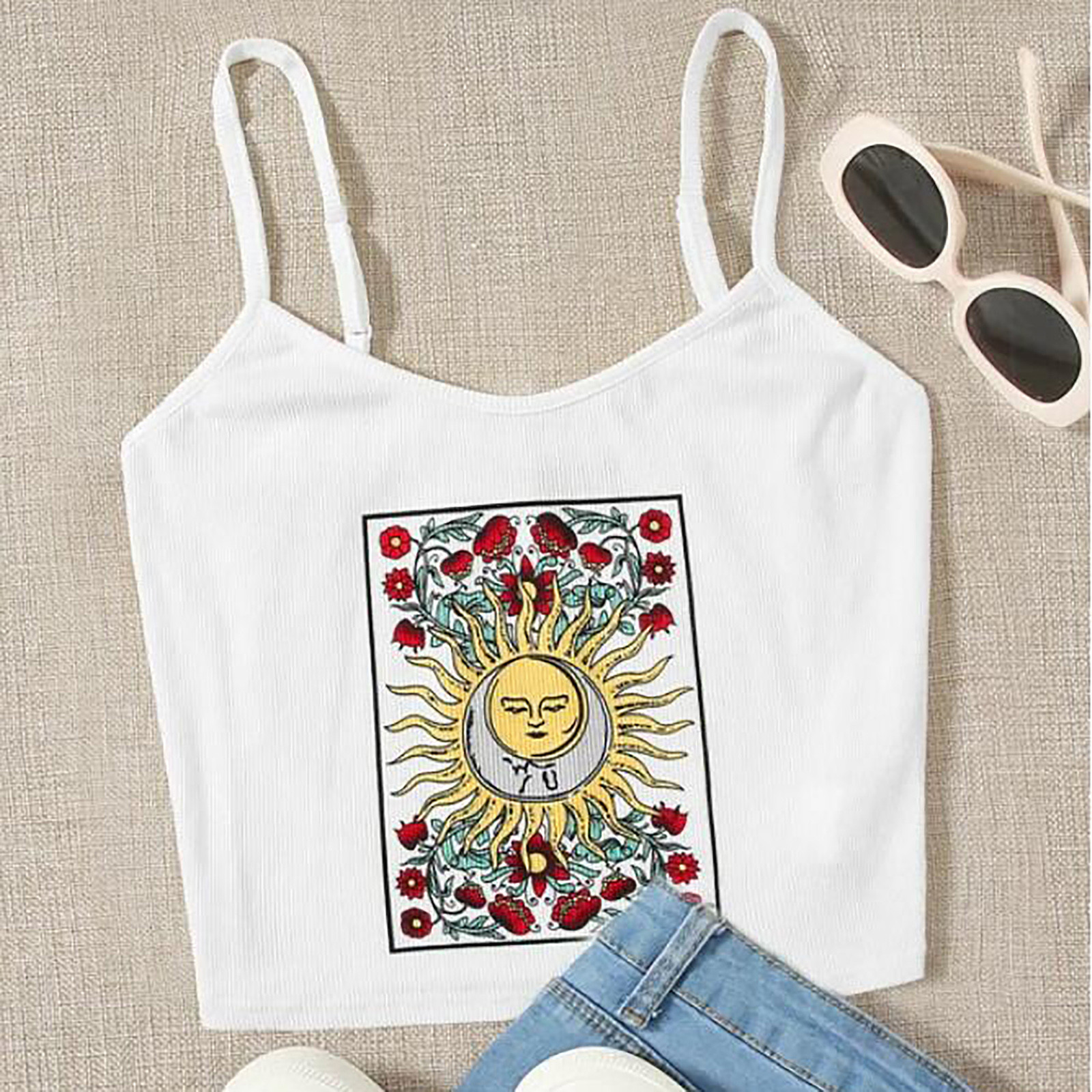 T-Shirt Rose-Tops Blouse Sling-Vest Camisetas-De-Mujer Retro Fashion Women's Slim-Fit