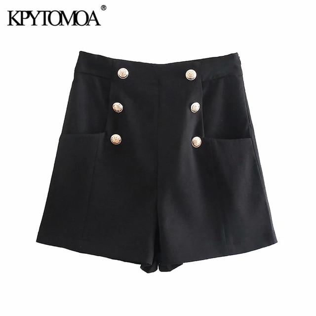 KPYTOMOA Women 2021 Chic Fashion With Metal Buttoned Bermuda Shorts Vintage High Waist Side Zipper Female Short Pants Mujer 3