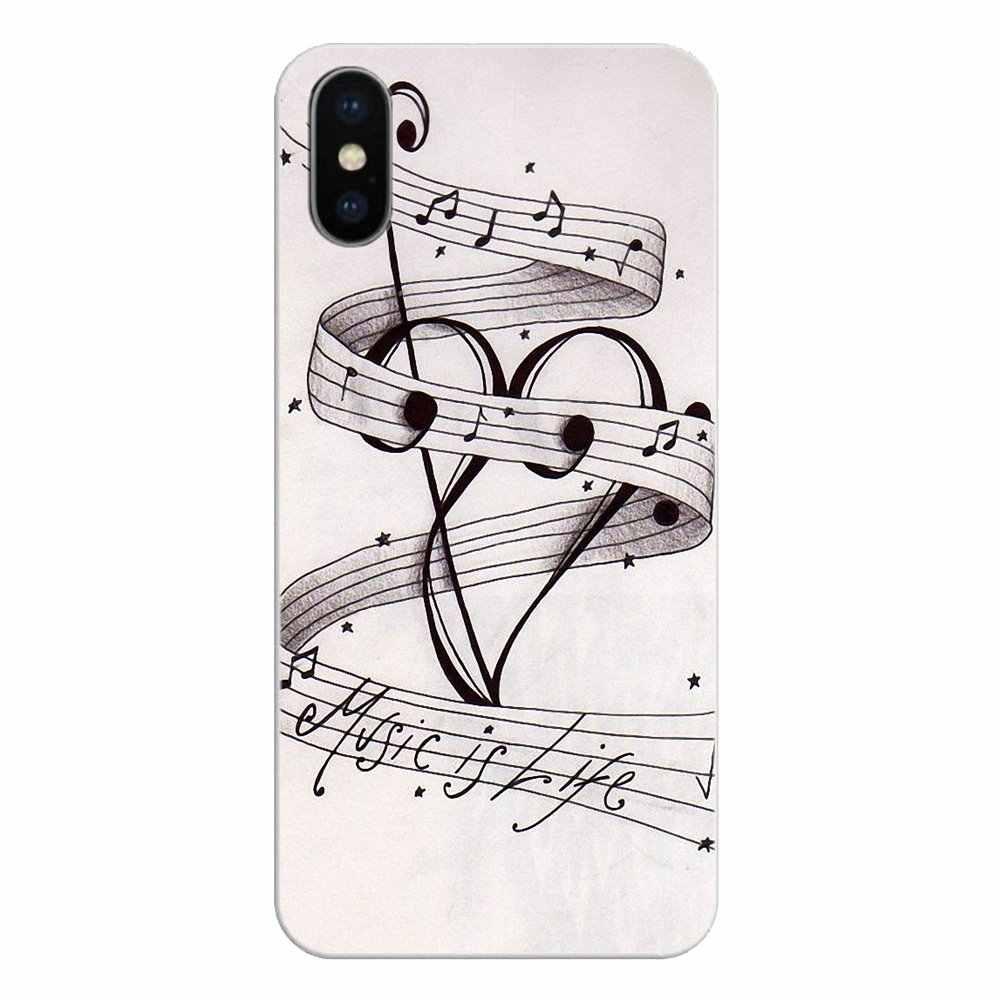 Cep telefonu kılıfı iPod Touch iPhone 4 4S 5 5S 5C SE 6 6S 7 8 X XR XS artı MAX müzikal notlar keman klasik müzik sanat