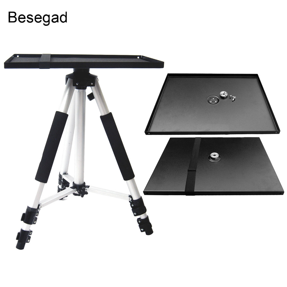 Besegad Universal Metal Tray Stand Platen Platform Holder Bracket Mount For 3/8inch Tripod Projectors Monitors Laptops