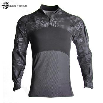 HAN WILD Men's Outdoor Hunting Tactical Shirts Air Soft Combat Tee Shirts Breathable Army Military Shirts Gray Hunting T-shirt 1