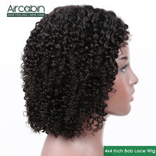 Aircabin 4x4 Lace Closure Wigs Brazilian kinky Curly Bob Wig Deep Human Hair For Black Women 150% Remy