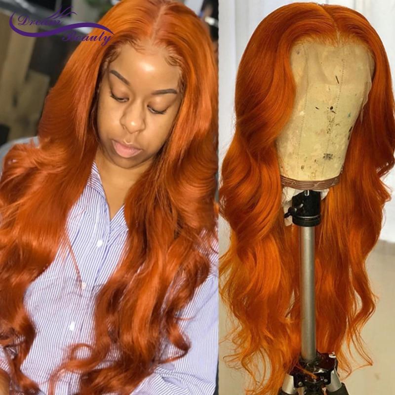 Perucas de cabelo humano da parte dianteira do laço do marrom alaranjado com o cabelo do bebê 180 densidade remy meddle relação onda do corpo 13*4/13*6 peruca do laço para as mulheres