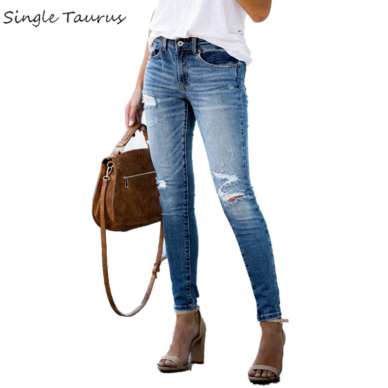 2020 New Slim Skinny Jeans Women Mid Waist Knee Hole Distressed Jeans Woman Streetwear Denim Ropa Mujer S-2XL Casual Vaqueros