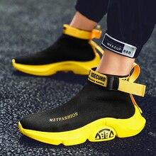 Wysokie góry męskie obuwie wygodne modne trampki dla mężczyzn skarpety buty marki wypoczynek na świeżym powietrzu obuwie czarne Zapatillas Hombre