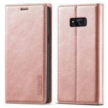 Caso magnético para samsung galaxy s8 caso carteira de couro flip cover galaxy s8 mais telefone caso slot para cartão capa suporte sacos