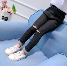 Teenager Girls Hole Jeans 2020 Spring Slim Children Denim Pants Casual Girls Skinny Pencil Trousers 4 6 7 8 9 10 11 12 13 Years
