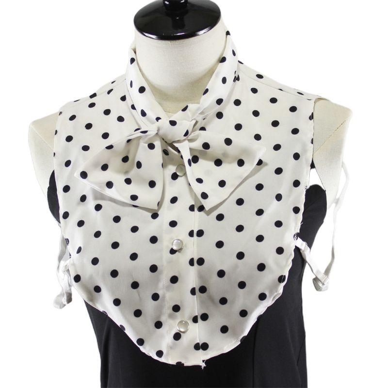 Women Classic Bowtie Fake Collar Necklace Polka Dot Detachable Half-Shirt Blouse