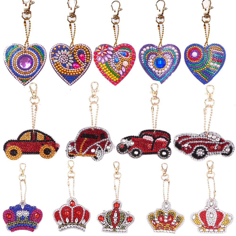 DIY Keychain Tassel Keychain Diamond Painting Key Ring Chain Full Drill for DIY Art Craft Charm Bag Dream Catcher Keyring Bag Hanging Pendant Decor Gift
