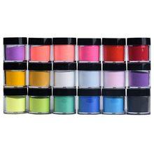 18 Colors Nail Art Tips UV Gel Powder Dust Design 3D DIY Decoration Set