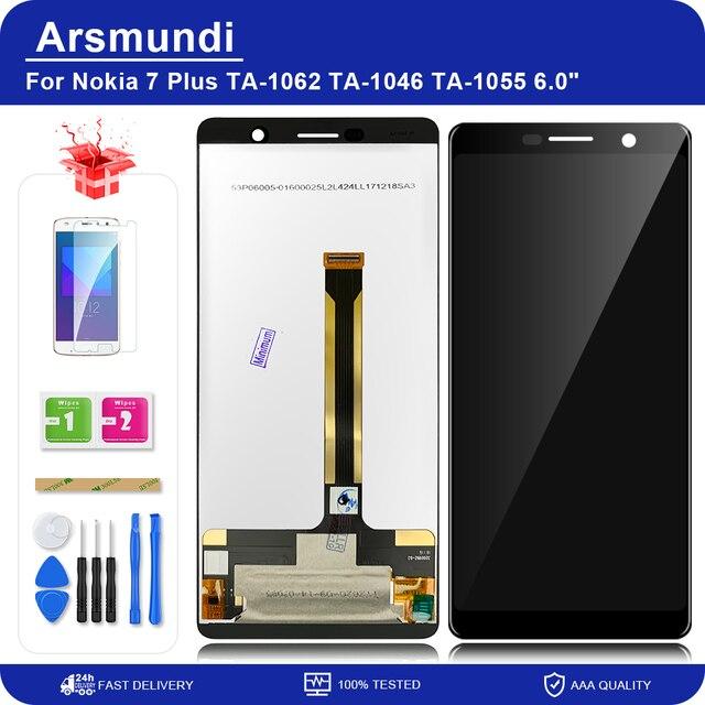 """لنوكيا 7 Plus / 7 Plus / E9 Plus / TA 1062 6.0 """"شاشة LCD تعمل باللمس محول الأرقام الجمعية استبدال شاشات الكريستال السائل + هدية"""