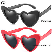 2019  black pink red heart sun glasses for kids polarized flexible baby girl sunglasses children