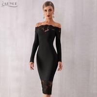 Adyce 2019 New Women Bandage Dress Vestidos Black Slash Neck Celebrity Party Dress Elegant Off Shoulder Lace Bodycon Club Dress